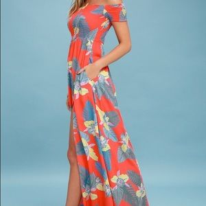 Lulus patsy coral red floral off the shoulder maxi